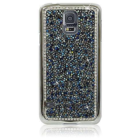 Xtra-Funky Exklusiv Samsung Galaxy S5 (i9600) Kristallrhinestone-Felsen harter Fall mit Sekt Diamante Kanten und Chrom-Rim - Blau