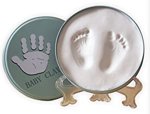 Babies Bloom Round Iron Box Baby Hand Foot Print Frame Baby Souvenir Gift, White