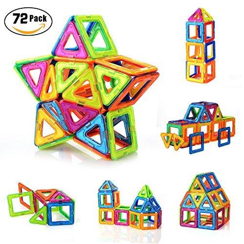 PovKeever 72 Magnetische Bausteine Kleinkind Spielzeug Magnetische Bauklötze Konstruktion Blöcke Konstruktionsbausteine Magnetspielzeug Lernspielzeug für Kinder, Bestes Geburtstag Weihnachtsgeschen (Magnetische Kleinkinder Für Bausteine)