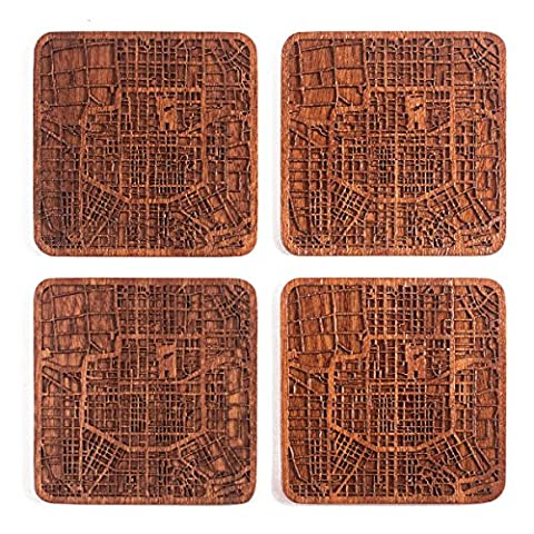Xi'an Map Coaster, Set Of 4, Sapele Wooden Coaster With City Map, Handmade