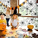 luckything Toile D'araignée Halloween Deco, Sticker Toile D'araignée Halloween, Fenêtre S'Accroche Toile D'Araignée pour Bar Accueil Fenêtre Décoration ( 17 X 12 Pouces)
