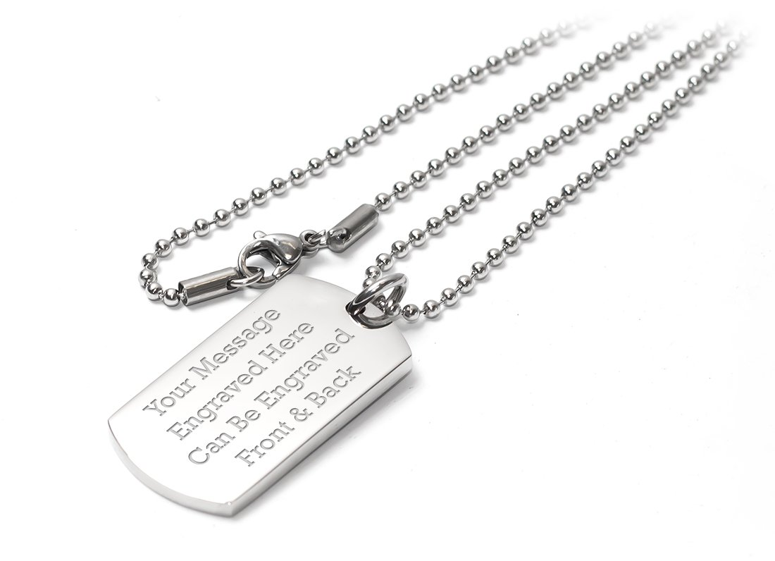 Personalised Luxury Dog Tag Pendant Identity Necklace – Engraved – Enter Your Custom Text