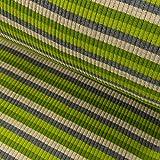 Grobstrick Bündchen Meterware Streifen College Bündchenstoff grün grau - Preis Gilt für 0,5 Meter