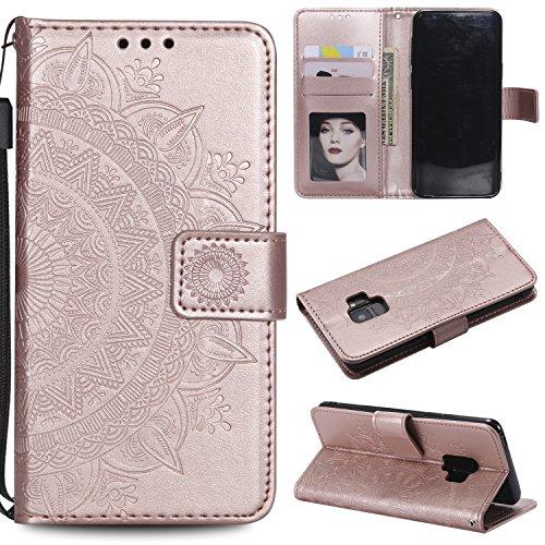 ZCXG Kompatibel mit Handyhülle Samsung Galaxy S9 Hülle Leder Rose Gola Mandala Frauen Brieftasche Stand Flip Cover Schutzhülle Magnet Ständer Kartenhalter Geldbeutel Kreditkartenhüllen Klapphülle