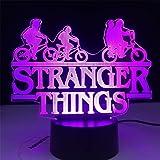 Stranger Things - Lampe 3D à illusion d'optique - Alimentée par USB - 16 couleurs clignotantes - Interrupteur tactile - Décor