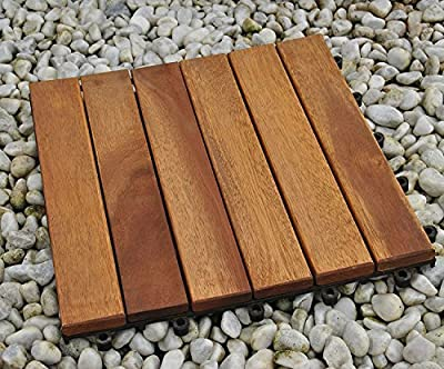 SAM® 12-slat acacia patio tile, set of 33 tiles for approx. 3 m², FSC® 100 % certified, garden tile, flooring with drainage substructure, interlocking click-tiles for garden or balcony, non-slippery - inexpensive UK light shop.