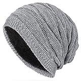 Kuyou Winter Beanie Mütze Slouch Strickmütze mit warmem Fleece Innenfutter (Grau)