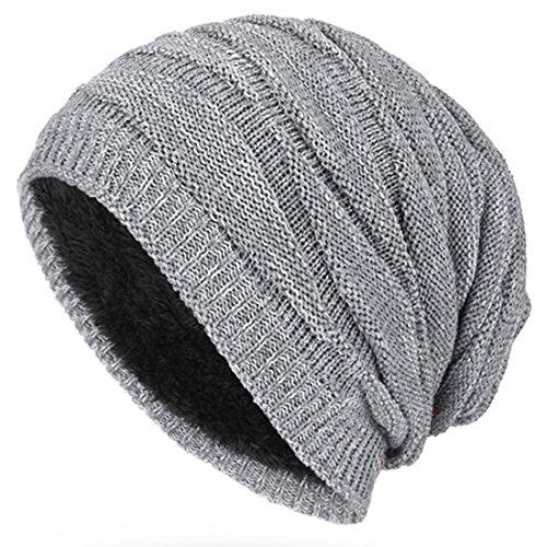 Kuyou Winter Beanie Mütze Slouch Strickmütze mit warmem Fleece Innenfutter (Winter Beanie Mütze)