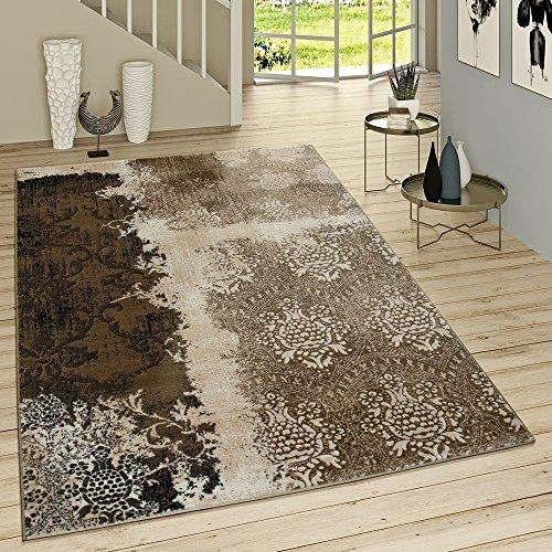 Kurzflor Wohnzimmer Teppich Used Look Mit Rokoko Muster Modern In Braun Beige , Grösse:80x150 cm
