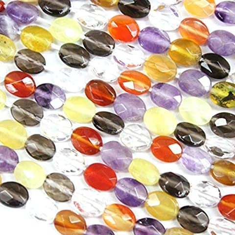 Faceted Natural Oval Genuine Yellow Opal Amethyst Smoky Quartz Crystal Red Agate Gemstone Beads Jewerly Making Findings (6*8mm) by fashiontrend-us