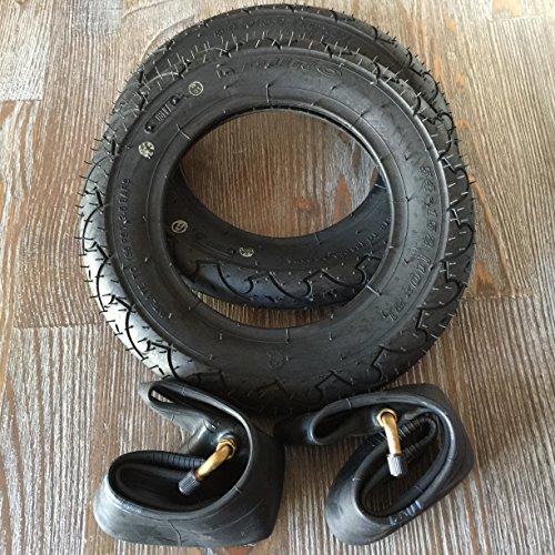 2x Duro 10 Zoll Reifen + AV°90 (abgewinkelt) Schläuche Autoventil 10x2 | 54-152 Fahrrad Kinderwagen Roller Roller Dreirad