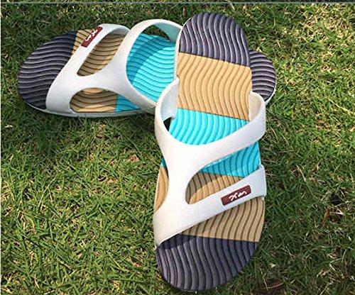 Strand Hausschuhe männlichen Hausschuhe Sommer koreanische Version des Rutschfeste Kunststoff blow-Back Beach, Massage thread Blau 42 (Slip-thread)