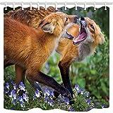 EdCott Wild Animal Shower Curtain by Tow Fox Tussle In blühenden Sträuchern Bauernhaus Badezimmer Mehltau Resistant Polyester Stoff Wasserdicht Duschvorhang Set Mit Haken 71X71in