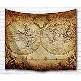 Bewave Tapiz de pared de mapa del mundo, tela de poliéster grande, estilo antigüedad, para colgar, decoración de pared para dormitorio