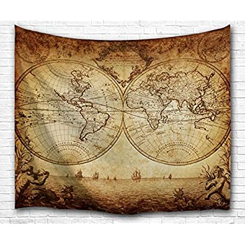 59x71 inches retro tapestry world map wall hanging hippie tapestries bewave wall tapestry world map hanging large antique polyester fabric wall dcor for bedroom 80 x 60 inches antique world map gumiabroncs Choice Image