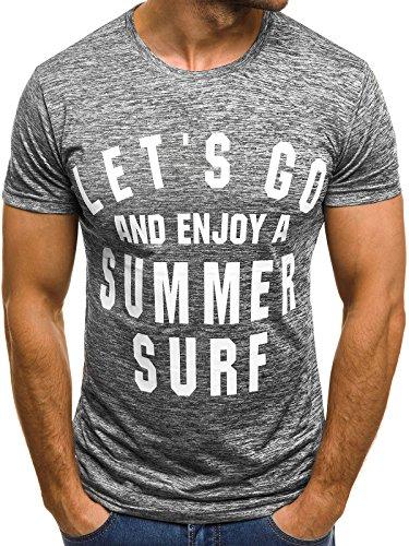 OZONEE Mix Herren T-Shirt Aufdruck mit Motiv Kurzarm Slim Rundhals Shirt Figurbetont JS/5014 Grau XL (Slim Brust)
