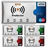 Travando ® RFID-Schutzhülle Set (5 Stück) für Bankkarte, EC-Karte, Personalausweis, Kreditkarten - 100% Datenschutz von kontaktlosen NFC Funk-Chips, Betrug, Kratzern + 5 Farb-Sticker + GRATIS E-Book