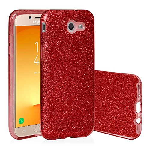 EGO ® Hülle Glitzer Schutzhülle für Samsung Galaxy J5 2017 J530, Rot Back Case Bumper Glänzend Transparente TPU Bling Weiche Glamour Handy Cover Lipgloss Rot + Glas