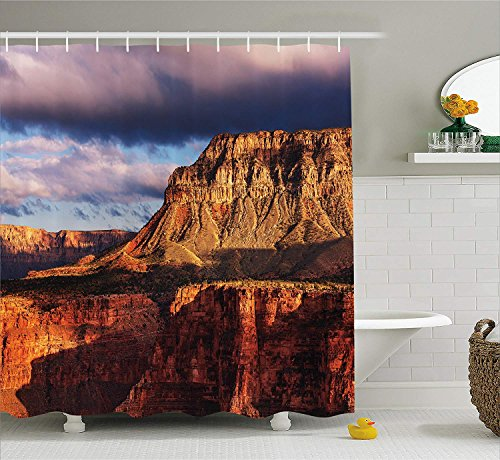 Red Rocks In Colorado (Jolly2T House Decor Shower Curtain by, Canyon in Colorado Plateau with Rocks River Stream Geological Mystery Formed, Fabric Bathroom Decor Set with Hooks, 60 x 72 Inches, Orange Grey)