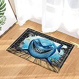 gohebe Crazy Cartoon Shark mit Ein Furchterregendes Lächeln und scharfe Zähne Bad Teppiche für Badezimmer Rutschfeste Boden Eingänge Outdoor Innen vorne Fußmatte 39,9x 59,9cm Badteppich blau (multi30)