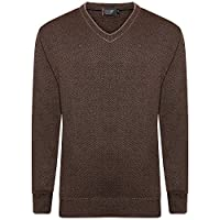 Shop Online New Mens Full Long Sleeve V Neck Wool Jumper Pull Over Knitted Sweater Formal Casual Office TOP (Extra Large, Brown)