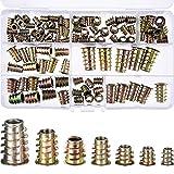 100 Stücke M4/ M5/ M6/ M8/ M10 Zink Legierung Möbel Innensechskant Schraube Einsätze Gewindeeinsatz Muttern Sortiment Werkzeug Kit für Holz Möbel (7 Größe)