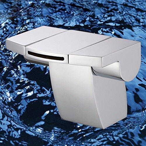 QMPZG-Kupfer Wasserfall Waschbecken Wasserhahn, Doppelgriff kreative Persönlichkeit Becken-Waschbecken, Armaturen