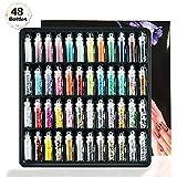 Hapree Set di Polvere Glitter per Unghie,48 Colori Assortiti Lustrini 3D per Manicure, Nail Art, ricostruzione Unghie, Make up, Slime, Nail Art o Glitter da Pittura e Disegni