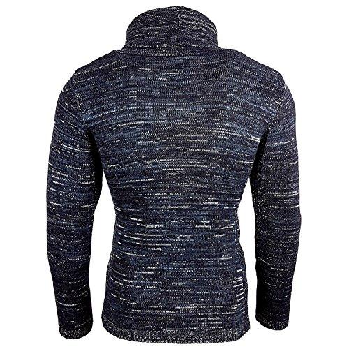 Subliminal Mode - Pull Over Col Roulé à Lacet Homme Tricot SB-13258 Petite Maille Bleu