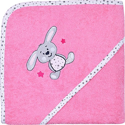 Wörner Kapuzenbadetuch mit hochwertigem Stickmotiv Frottier rosa/weiss Größe 80x80 cm