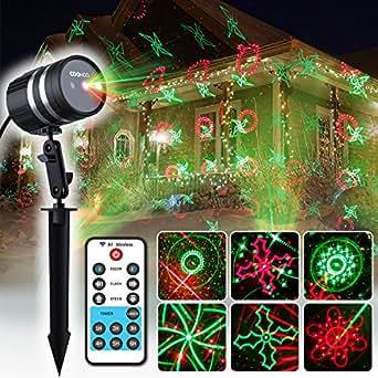COOWOOO projecteur LED lumières de Noël pour l'intérieur et l'extérieur étoiles vertes rouges avec 20 motifs, boîtier en aluminium résistant aux intempéries avec télécommande