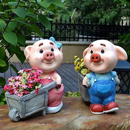 Gartenstatuen Outdoor Kleines Schwein Wagen Pot Wasserdicht Lehm Garten-Statue Für Garten, Landschaft, Rasen-Garten-Dekoration Crafts Solarleuchten für Außen Garden Miniatures