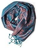 ufash Pashmina Seidenschal Tuch aus Punjab, Indien, Paisley Muster, 160 x 35 cm - 100% Seide, Blau