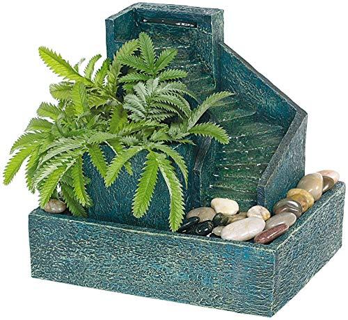 Monsterzeug Zimmerbrunnen mit Pflanzen und Stufen aus Stein, Wasserfall Spring Brunnen für Zimmer zum Bepflanzen, Kleiner bepflanzter Dekobrunnen als Luftbefeuchter