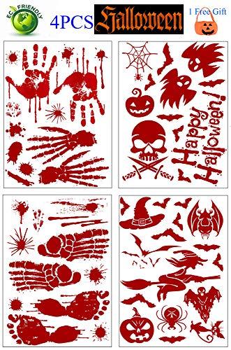 UFLYAY Halloween-Aufkleber, blutige Handabdrücke, Fußabdruck, Horror-Party-Dekorationsset, Fenster, Aufkleber für Vampir, Zombie-Party und Halloween-Party 25 * 35cm (Halloween Fenster Aufkleber)