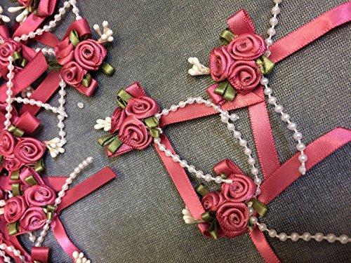 Dusky Pink/Pearl Satin Rose Buds & Perlen-5Pro Pack Dusky Pink Satin