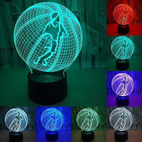 RUMOCOVO® Cool 3D Baloncesto Deporte Hogar Decoración LED Ilusión Táctil USB 7 Colores RGB Lámpara Dormitorio Luz De Noche Mejores Niños Regalo de Navidad Hogar Iluminación