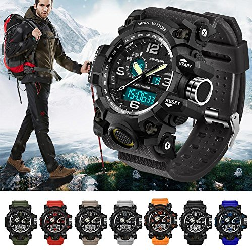 Herren Sport Armbanduhr Armbanduhr Elektronische Handgelenk Casual 742 Colorful Uhren Smart Sanda Military Outdoor Herren Top-Marke Luxus LED Digital Schwarz
