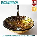 AllureFeng Classique art conception verre rond lavabos Arts peints à la main / salle de bain trempé contemporain lavabo en verre set (12mm * F420mm * H145mm)...