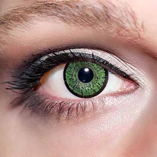 KwikSibs farbige Kontaktlinsen, grün, 2-farbig, weich, inklusive Behälter, BC 8.6 mm / DIA 14.0 / -1,75 Dioptrien, 1er Pack (1 x 2 Stück)
