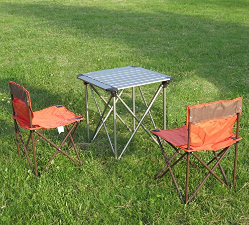 Campingmöbel 3-Set Campingtisch Klapptisch Campingstuhl Faltstuhl für Kinder/Jugendliche - orange