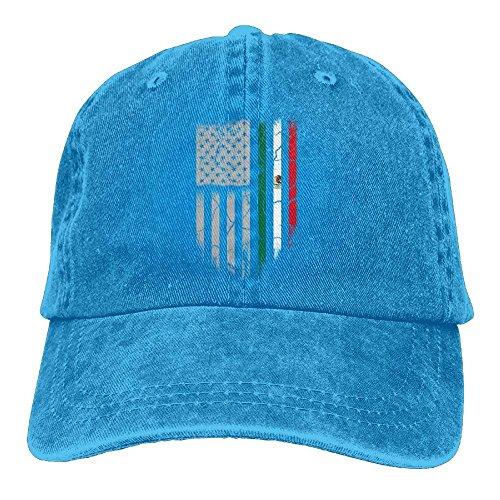 Desing shop Mexican American Flag Denim Hat Adjustable Men's Classic Baseball Cap -