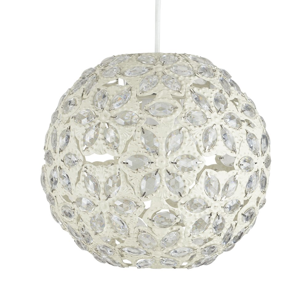 Contemporary moroccan style shabby chic cream metal jewelled ball contemporary moroccan style shabby chic cream metal jewelled ball ceiling pendant light shade amazon lighting aloadofball Gallery