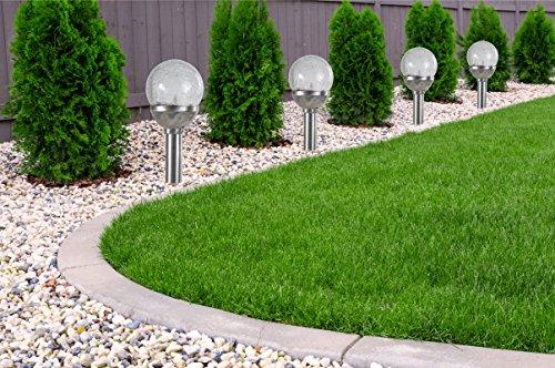 4er Set Kristallglas Premium Solarlampe Leuchte LED Edelstahl Gartenkugel - 2