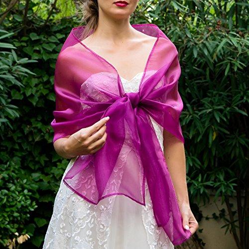 Chal organza color fuchsia pink lila novia boda