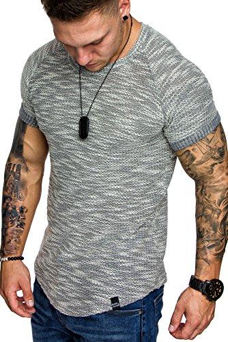 BCOC by AMACI Oversize Vintage Raglan Herren Shirt Sweatshirt Crew-Neck 6047 Grau S (Raglan Sweatshirt Crewneck)