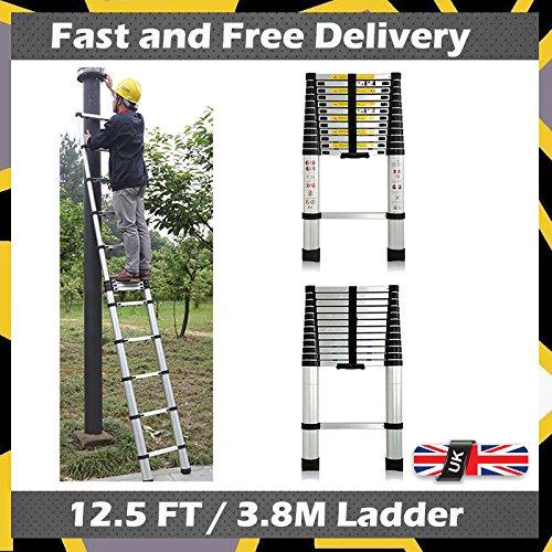 Preisvergleich Produktbild Faltbar Design 12,5ft Mehrzweck Teleskop Leiter Sicher und kompakt