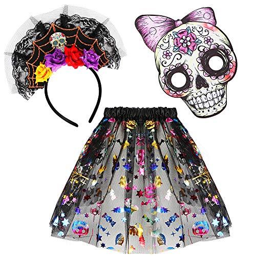VAMEI Halloween Kostüm Totenkopf Kostüm mit Double Layered Tutu Rock Mexikanische Sugar Skull Maske Stirnband Fancy Dress up Party Outfit für Kinder 4-9 Jahre