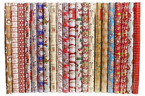 4 x 10 m Weihnachten Geschenkpapier Rollen - Traditionelle Rot & Weiß
