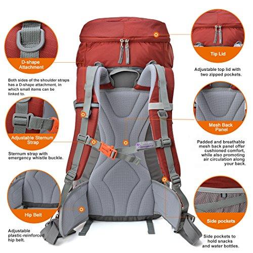Mountaintop 50/65/80L Zaino Trekking Impermeabile Escursionismo montagna campeggio alpinismo viaggio rosso1/50L